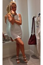 white Local store dress - vintage bracelet - white metallic sandals