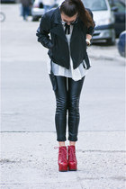 Jeffrey Campbell shoes - New Laundry jacket - Zara leggings - Vero Moda shirt