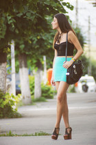 aquamarine Bershka skirt - black Accessorize top