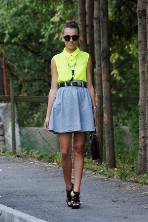Orsay shirt - versace bag - Zara necklace - escada belt - H&amp;M glasses