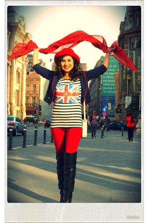 Zara boots - vintage hat - H&M jacket - Terranova leggings - vintage scarf