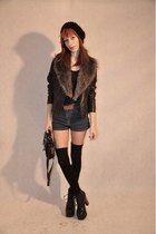 black jacket - charcoal gray scarf - navy shorts - brown belt - black heels