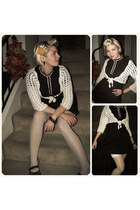 off white thrifted cardigan - dark brown mary jane style Dr Scholls shoes