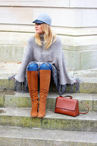 suede Zara boots - Zara jeans - wool H&M hat - leather Zara bag - Zara cape