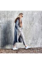 wool Zara coat - faux leather Zara pants - leather Zara sneakers