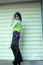 chartreuse tie dye Forever 21 shirt - magenta DIY shorts