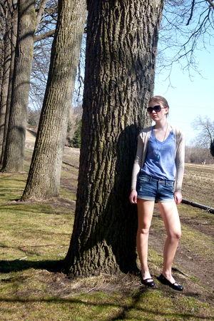 blue Charlotte Russe shirt - blue Forever 21 shorts - beige papaya cardigan - bl