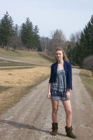 blue Forever 21 dress - blue Forever 21 cardigan - brown  boots - silver jennyfe