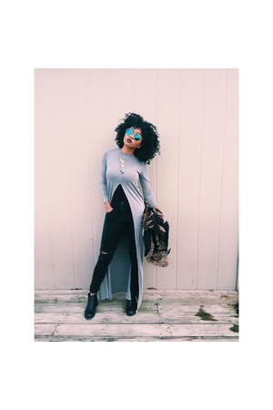 black boots - jeans - Forever 21 sunglasses - silver top