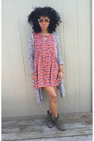 Forever 21 boots - Forever 21 dress - JCPenney cardigan