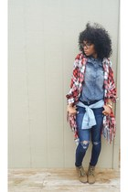 Forever 21 scarf - Forever 21 boots - Old Navy jeans - Arizona shirt