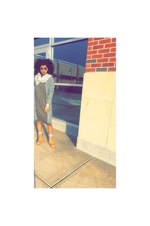 boots - dress - Forever 21 sweater