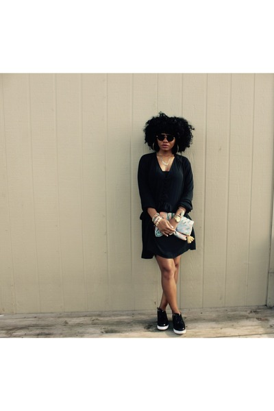 black H&M dress - Urban Outfitters bag - black Aldo loafers