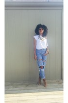 hm necklace - thrifted jeans - Forever 21 sunglasses - JCPenney heels - Gap top