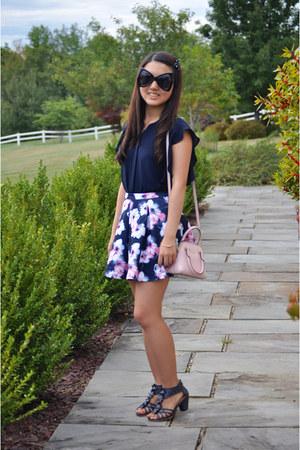 light pink kate spade bag - black Dressgal sunglasses - navy Abercrombie skirt