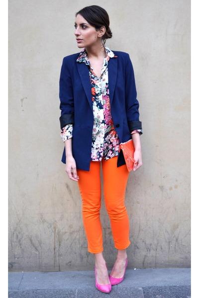 Kurt Geiger bag - navy Zara blazer - Zara shirt - hot pink dune heels