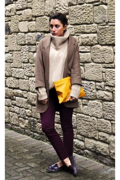 Zara bag - Topshop Boutique coat - Zara jumper - Topshop pants - Todds flats