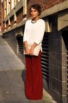 Zara pants - Zara bag - Zara jumper - Topshiop heels - H&M necklace