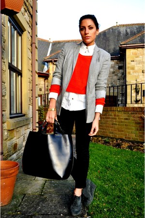 Kurt Geiger boots - Topshop blazer - Burberry shirt - Zara bag - Zara pants - H&amp;