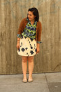 Green-macys-shirt-navy-francescas-skirt-tan-vintage-cardigan