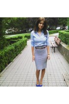 blue poema shoes - sky blue H&M shirt - nikka skirt