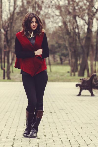 crimson random brand vest - black unknown boots - white Forever 21 shirt
