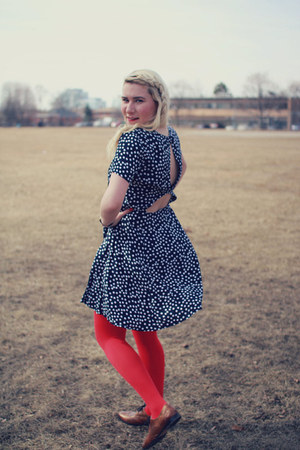 red bright red Betsey Johnson tights - navy polka dotted asos dress
