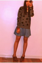 gray Forever 21 sweater - blue vintage skirt - brown clogs