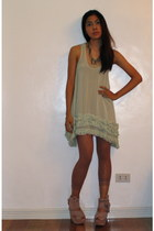 chartreuse Topshop dress - salmon tights - light pink Topshop shoes - silver For
