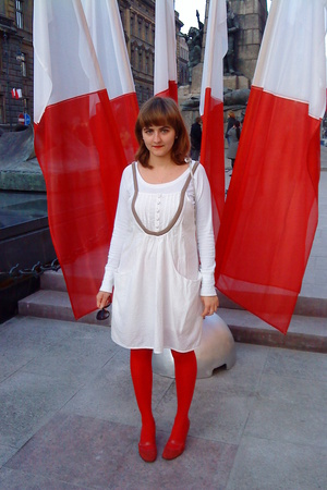 H&M blouse - culture dress - purse - ryko shoes - H&M tights