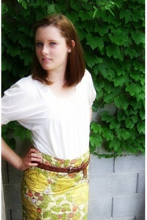 cream cream shirt - brown leather thrifted belt - mustard pencil skirt DIY skirt
