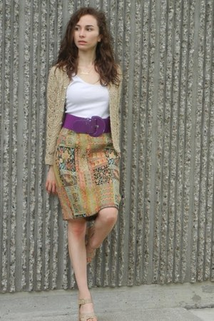 vintage skirt - beige handmade sweater - white Caslon top - deep purple H&M belt