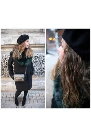 black Bershka shoes - black new look coat - black Parfois bag