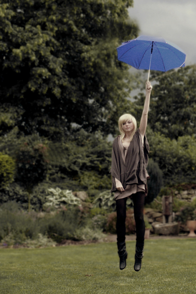 blue umbrella noname accessories - black noname boots - beige sale Zara dress