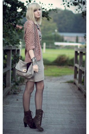 light pink H&amp;M cardigan - brown Bruno Premi boots - tan H&amp;M dress