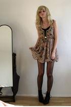 beige Primark dress - black Akira boots - beige new look necklace