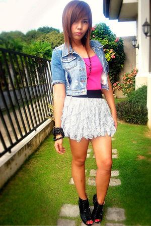 blue from hongkong jacket - pink Topshop shirt - silver random brand skirt - bla