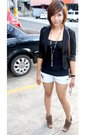 Black-from-hk-blazer-black-top-blue-shorts-brown-janylin-shoes