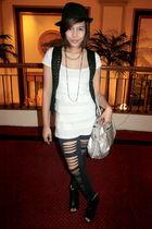 black random brand hat - white blouse - black What A Girl Wants leggings - black