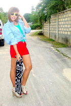 blue H&M - green Zara t-shirt - red scenecityshopmultiplycom shorts - white From