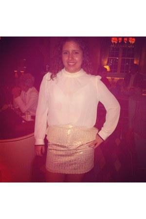 mustard peplum skirt Forever 21 skirt - white silk blouse Forever 21 blouse