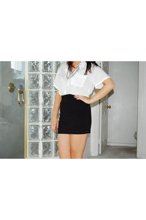 black Forever 21 skirt - white Forever 21 shirt