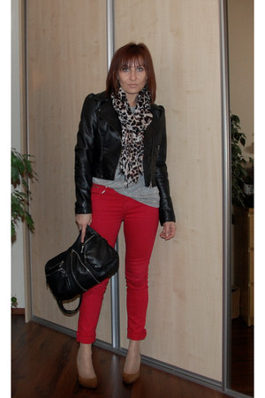 brown Zara shoes - red  jeans - black H&M jacket - heather gray Zara blouse