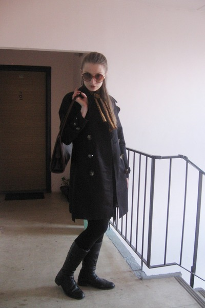 black Rieker boots - black H&M dress - black H&M leggings - tawny vintage scarf