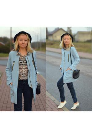 aquamarine zipper Sheinsidecom coat