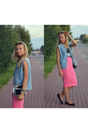 black black and white Zara bag - bubble gum hot pink Atmosphere skirt