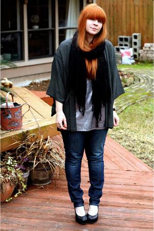 black scarf - silver I 3 Ronson top - blue Levis jeans - vintage jacket - black