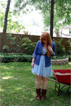blue Rodarte for Target dress - blue Wrangler shirt - brown Charlotte Russe boot