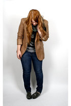 brown Ralph Lauren blazer - blue Levis jeans - gray thrifted shoes - gray top -