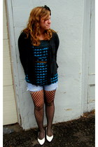 Forever21 belt - delias blouse - Forever21 sweater - ae shorts - my mommys  shoe